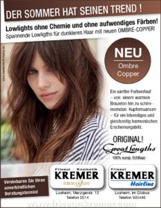 Ombre Copper bei Friseur und Kosmetik Kremer Losheim